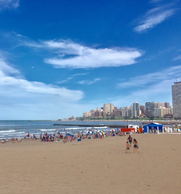 The beaches of Mar del Plata are popular with the locals during the Christmas holiday period