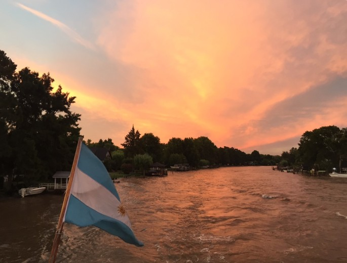 Dramatic sunset on the Delta in Tigre, Buenos Aires