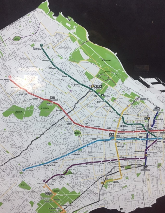 Part of the Buenos Aires SUBTE map