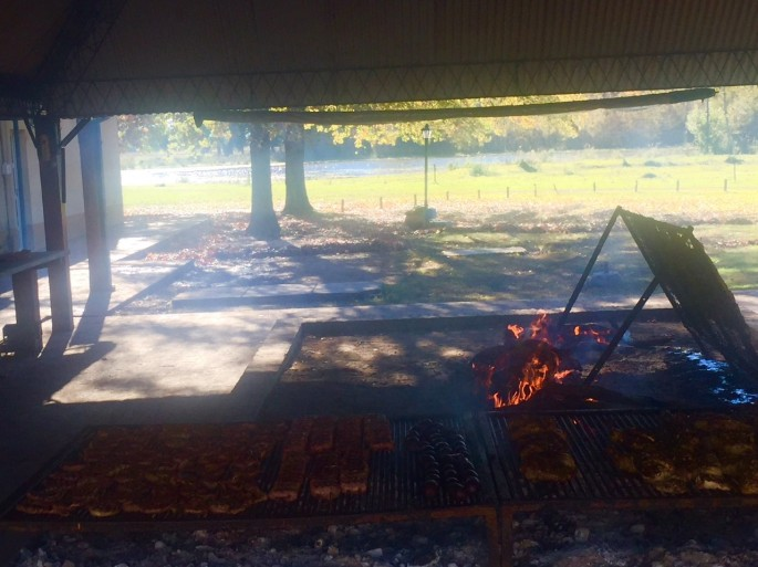 An asado sizzling at one of Argentina's legendary estancias
